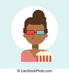 African American Female Wearing 3d Glasses With Popcorn Emotion Profile Icon, Woman Cartoon Portrait Happy Smiling Face