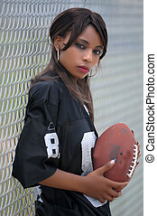 African American female with footba