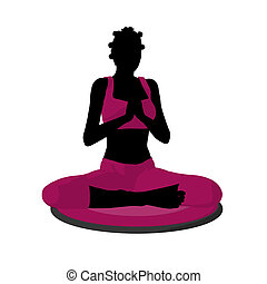 African American Female Yoga Illustration Silhouette