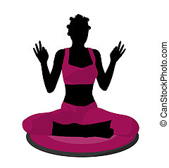African American Female Yoga Illustration Silhouette