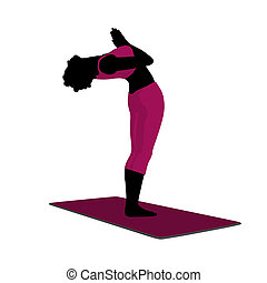 African American Female Yoga Illustration Silhouette -...