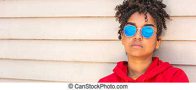 African American female young woman wearing blue sunglasses panorama web banner