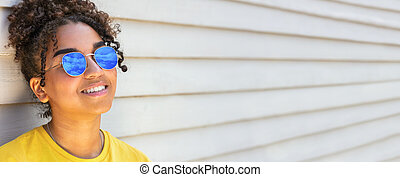 African American female young woman wearing sunglasses reflecting Panorama