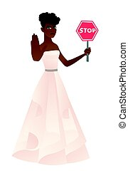 African-american fiancee holding stop road sign.