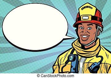 African American firefighter portrait, comic bubble. Pop art...