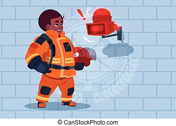 African American Fireman Hear Alarm Wearing Uniform Hold Helmet Ready Fire Fighter Stand Over Brick Background