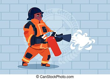 African American Fireman Hold Extinguisher Wearing Uniform And Helmet Adult Fire Fighter Stand Over Brick Background