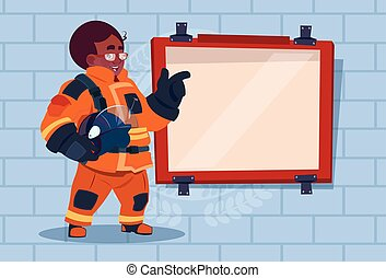 African American Fireman Leading Training Of Alarm On Board Wearing Uniform Hold Helmet Fire Fighter Over Brick Background