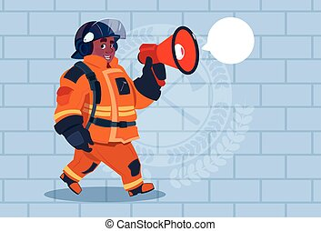 African American Fireman Speaking In Megaphone Wear Uniform And Helmet Adult Fire Fighter Over Brick Background