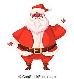 African american flat santa waving his hand