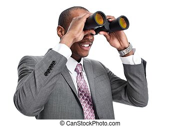 african-american, geschäftsmann, mit, binoculars.