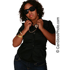 African American Girl Beauty Shot With Sun Glasses