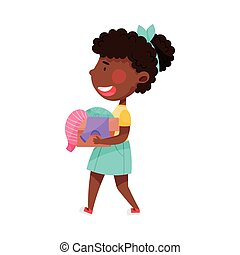 African American Girl Character Carrying Pile of Clothing Items as Sorted Garbage for Recycling Vector Illustration