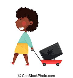 African American Girl Character Pulling Platform Trolley with Broken Laptop as Sorted Garbage for Recycling Vector Illustration