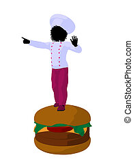 African American Girl Chef Silhouette Illustration