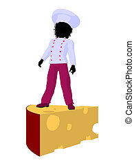 African American Girl Chef Silhouette Illustration - African...