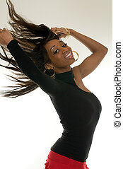 African American girl dancing.