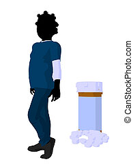 African American Girl Doctor Illustration Silhouette -...