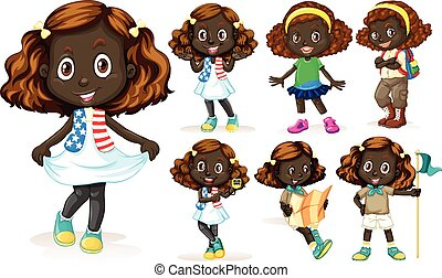African American girl doing different activities...