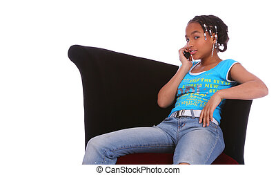 African American Girl Gossiping On The Phone