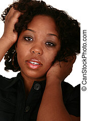 African American Girl Head Shot Innocence Expression