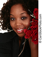 African American Girl Holding Bunch Of Roses