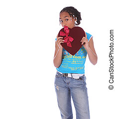 African American Girl Holding Heart