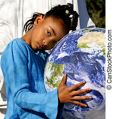 African-American Girl Holding the Earth - African-American...
