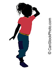 African American Girl Illustration Silhouette - African...