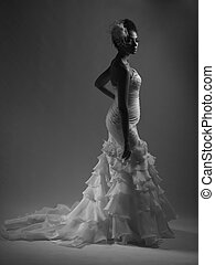 African American girl in a wedding dress