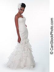 African American girl in a wedding dress