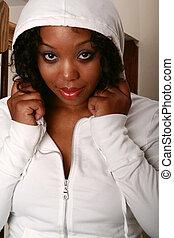 African American Girl In White Hood