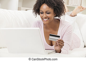 African American Girl Laptop Computer Shopping On Line
