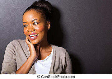 african american girl looking away - cheerful african...