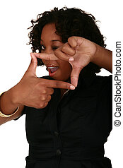 African American Girl Posing With Squared Hand