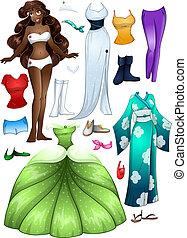 African American Girl Princess Dress Up - A vector...