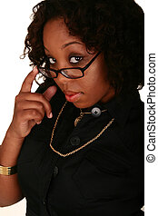African American Girl Pull Down Her Reading Glasses -...