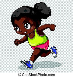 African american girl running