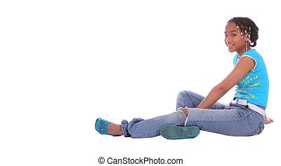 African American Girl Sitting Down 2