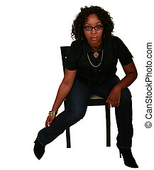 African American Girl Sitting Down