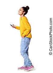 African american girl standing with cell phone