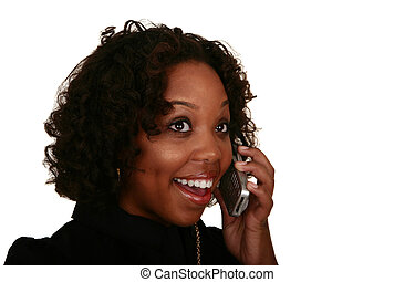 African American Girl Surprise Talking On The Phone