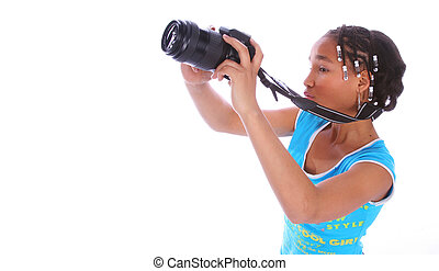 African American Girl Taking Picture Close Up 2