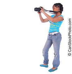 African American Girl Taking Picture
