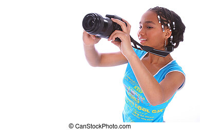 African American Girl Taking Picture Close Up 3