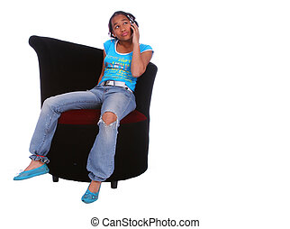 African American Girl Talking On The Phone 2