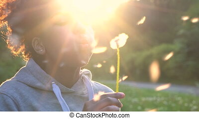 African American girl teenager blowing a dandelion at sunset...