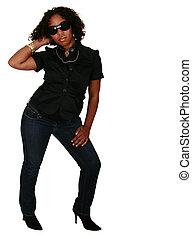 African American Girl Wearing Sun Glasses