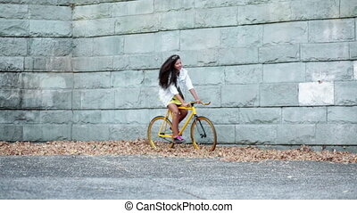 African American girl with bike - African American girl...
