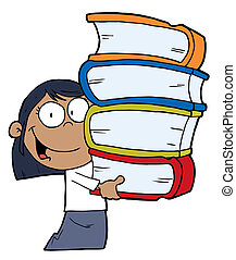 African American Girl With Books - Smart African American...